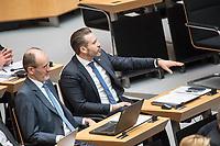 """Plenarsitzung des Berliner Abgeordnetenhaus am Donnerstag den 22. Februar 2018.<br /> Im Bild vlnr.: Aktuelle Stunde auf Antrag der AfD zum Thema """"Demonstrationsrecht in Berlin in Gefahr"""". Die Abgeordneten der rechtsnationalistischen """"Alternative fuer Deutschland"""" (AfD), Martin Trefzer und Thorsten Weiss. Weiss poebelt waehrend der Rede des SPD-Abgeordneten Sven Kohlmeier.<br /> 22.2.2018, Berlin<br /> Copyright: Christian-Ditsch.de<br /> [Inhaltsveraendernde Manipulation des Fotos nur nach ausdruecklicher Genehmigung des Fotografen. Vereinbarungen ueber Abtretung von Persoenlichkeitsrechten/Model Release der abgebildeten Person/Personen liegen nicht vor. NO MODEL RELEASE! Nur fuer Redaktionelle Zwecke. Don't publish without copyright Christian-Ditsch.de, Veroeffentlichung nur mit Fotografennennung, sowie gegen Honorar, MwSt. und Beleg. Konto: I N G - D i B a, IBAN DE58500105175400192269, BIC INGDDEFFXXX, Kontakt: post@christian-ditsch.de<br /> Bei der Bearbeitung der Dateiinformationen darf die Urheberkennzeichnung in den EXIF- und  IPTC-Daten nicht entfernt werden, diese sind in digitalen Medien nach §95c UrhG rechtlich geschuetzt. Der Urhebervermerk wird gemaess §13 UrhG verlangt.]"""