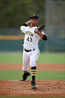 GCL Pirates pitcher Arlinthon De Dios (43) during a Gulf Coast League game against the GCL Twins on August 6, 2019 at Pirate City in Bradenton, Florida.  GCL Twins defeated the GCL Pirates 1-0 in the second game of a doubleheader.  (Mike Janes/Four Seam Images)
