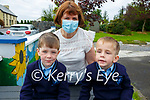 Twins Callum & Kyle Flavin with Eileen Kennelly at Knockanure NS on their first day at school.
