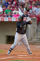 Kane County Cougars designated hitter Rock Shoulders #24 bats during a game against the Cedar Rapids Kernels at Veterans Memorial Stadium on June 8, 2013 in Cedar Rapids, Iowa. (Brace Hemmelgarn/Four Seam Images)