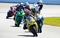Russ Wikle (16)leads a pack of motorcycles during the Daytona 200 motorcycle race at Daytona International Speedway, Daytona Beach, FL, March 2011.(Photo by Brian Cleary/www.bcpix.com)