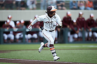 Tanner Thomas (23) of the Virginia Tech Hokies hustles down the first base line against the Georgia Tech Yellow Jackets at English Field on April 17, 2021 in Blacksburg, Virginia. (Brian Westerholt/Four Seam Images)