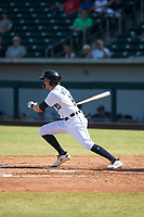 Mesa Solar Sox left fielder Daniel Woodrow (19), of the Detroit Tigers organization, follows through on his swing during an Arizona Fall League game against the Peoria Javelinas at Sloan Park on October 24, 2018 in Mesa, Arizona. Mesa defeated Peoria 4-3. (Zachary Lucy/Four Seam Images)