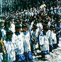 Easter celebration in San Miguel de Allende and the altar boys lead out.<br />