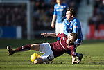 Hearts v St Johnstone…19.03.16  Tynecastle, Edinburgh<br />Danny Swanson is tackled by Liam Smith<br />Picture by Graeme Hart.<br />Copyright Perthshire Picture Agency<br />Tel: 01738 623350  Mobile: 07990 594431