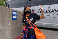 EAST HARTFORD, CT - JULY 5: Christen Press #11 of the USWNT walks into the stadium during a game between Mexico and USWNT at Rentschler Field on July 5, 2021 in East Hartford, Connecticut.