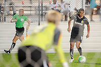 Sky Blue FC goalkeeper Meghann Burke (18) watches as Marta (10) of FC Gold Pride plays the ball. Sky Blue FC and FC Gold Pride played to a 1-1 tie during a Women's Professional Soccer (WPS) match at Yurcak Field in Piscataway, NJ, on September 01, 2010.
