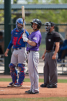 Colorado Rockies shortstop Elliot Soto (46) during a Minor League Spring Training game against the Chicago Cubs at Sloan Park on March 27, 2018 in Mesa, Arizona. (Zachary Lucy/Four Seam Images)