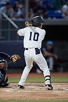Josh Smith (10) of the Hudson Valley Renegades at bat against the Wilmington Blue Rocks at Dutchess Stadium on July 27, 2021 in Wappingers Falls, New York. (Brian Westerholt/Four Seam Images)