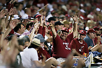 An Arkansas fan reacts, Saturday, June 5, 2021 during the fourth inning in the second game of the NCAA Fayetteville Regional at Baum-Walker Stadium in Fayetteville. Check out nwaonline.com/210606Daily/ for today's photo gallery. <br /> (NWA Democrat-Gazette/Charlie Kaijo)