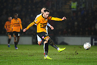Robbie Willmott of Newport County has a shot during the FA Cup Fourth Round Replay match between Newport County and Middlesbrough at Rodney Parade in Newport, Wales, UK. Tuesday 05 February 2019