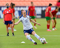 HOUSTON, TX - JUNE 10: Becky Sauerbrunn #4 of the United States warming up before a game between Portugal and USWNT at BBVA Stadium on June 10, 2021 in Houston, Texas.