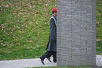 """Auf dem Gelaende des Einsatzfuehrungskommando der Bundeswehr, der Henning-von-Tresckow-Kaserne bei Potsdam, wurde am Samstag den 15. November 2014 ein Ehrenhain zum Gedenken an die im Einsatz verstorbenen Bundeswehrangehoerigen eingeweiht. Zu der Einweihung kamen 700 Gaeste, davon waren 190 Angehoerige Verstorbener.<br /> In dem """"Wald der Erinnerungen"""" sind die Gedenkhaine aus den Einsatzgebieten der Bundeswehr errichtet worden. Zum Teil originalgetreu nachgebildet von den Orten in denen die Bundeswehr eingesetzt war und Angehoerige verstorben sind.<br /> Im Bild: <br /> 15.11.2014, Potsdam<br /> Copyright: Christian-Ditsch.de<br /> [Inhaltsveraendernde Manipulation des Fotos nur nach ausdruecklicher Genehmigung des Fotografen. Vereinbarungen ueber Abtretung von Persoenlichkeitsrechten/Model Release der abgebildeten Person/Personen liegen nicht vor. NO MODEL RELEASE! Don't publish without copyright Christian-Ditsch.de, Veroeffentlichung nur mit Fotografennennung, sowie gegen Honorar, MwSt. und Beleg. Konto: I N G - D i B a, IBAN DE58500105175400192269, BIC INGDDEFFXXX, Kontakt: post@christian-ditsch.de<br /> Urhebervermerk wird gemaess Paragraph 13 UHG verlangt.]"""