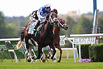 June 6, 2015: Tepin (#9), Julien Leparoux up, wins the 22nd running of the Grade I Longines Just a Game Stakes, for fillies and mares four and upward, at Belmont Park, Elmont, NY. Joan Fairman Kanes/ESW/CSM