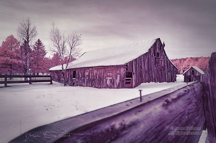 Mike's Barn (Infrared) ©2019 James D Peterson.  A couple days after a record snowfall in Flagstaff, Arizona, this proud but rickety old structure shows off its invisible colors.