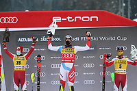 21st December 2020; Alta Badia Ski Resort, Dolomites, Italy; International Ski Federation World Cup Slalom Skiing;  from left on the podium, Manuel Feller AUT, Ramon Zenhaeusern (SUI) and Marco Schwarz (AUT)