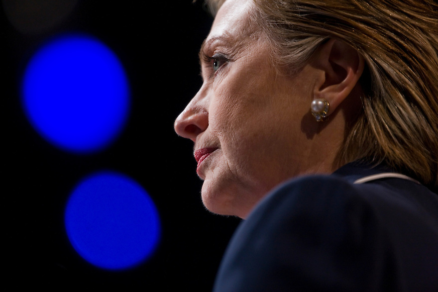 Democratic presidential candidate Sen. Hillary Rodham Clinton, D-N.Y.,  addresses the American Israel Public Affairs Committee (AIPAC) Policy Conference 2008 in Washington, DC.<br /> <br /> Photo by Brooks Kraft/Corbis<br /> <br /> <br /> <br /> Photo by Brooks Kraft/Corbis