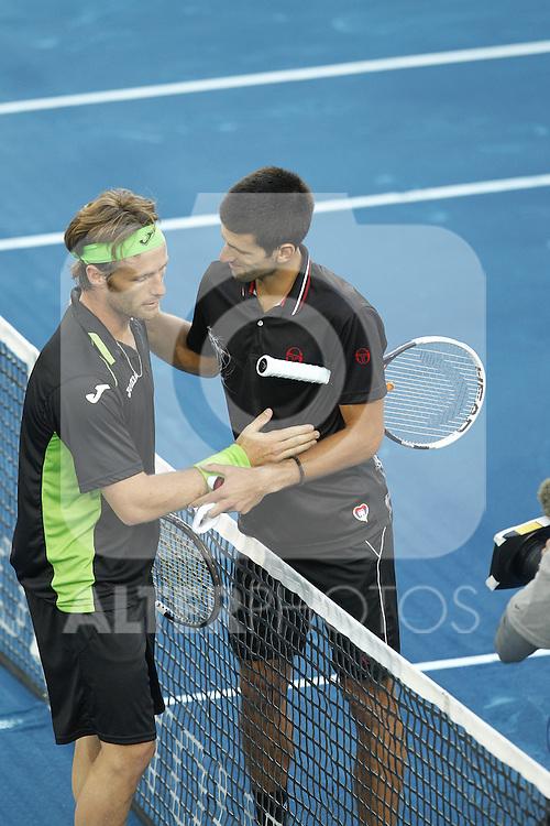 Daniel Gimeno-Traver and Novak Djkovic during Mutua Madrid Open 2012 match on may 8th 2012...Photo: Cesar Cebolla / ALFAQUI