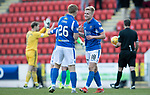 St Johnstone v Hamilton Accies…26.10.19   McDiarmid Park   SPFL<br />Ali McCann and Liam Craig celebrate at full time<br />Picture by Graeme Hart.<br />Copyright Perthshire Picture Agency<br />Tel: 01738 623350  Mobile: 07990 594431
