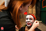 WOODBURY, CT-17 October 2014-101714EC09-  Imonie Jones gets her makeup done by cosmetologist Kate Lynch Friday in Woodbury. Jones will be one of the zombies featured in the Woodbury Lions Club's annual Haunted Hayride and Haunted Barn. The event runs this weekend and next. The tractor-drawn wagon ride starts at Mitchell Elementary School in Woodbury and features a ride through the cemetery and a stop at a haunted barn, with lots of scary surprises. Erin Covey Republican-American