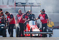 Oct 12, 2019; Concord, NC, USA; Crew members for NHRA top fuel driver Doug Kalitta during qualifying for the Carolina Nationals at zMax Dragway. Mandatory Credit: Mark J. Rebilas-USA TODAY Sports
