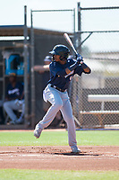 Milwaukee Brewers second baseman Yeison Coca (96) at bat during an Instructional League game against the San Diego Padres at Peoria Sports Complex on September 21, 2018 in Peoria, Arizona. (Zachary Lucy/Four Seam Images)