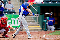 Matthew Sulentic (30) of the Midland RockHounds hits a ground ball during a game against the Springfield Cardinals on April 19, 2011 at Hammons Field in Springfield, Missouri.  Photo By David Welker/Four Seam Images