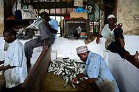 TANZANIA Zanzibar, Stone town, fish market / TANSANIA Insel Sansibar, Stonetown, Fischmarkt