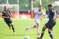 LAKE BUENA VISTA, FL - JULY 9: Kai Wagner #27 of the Philadelphia Union defends the ball during a game between New York City FC and Philadelphia Union at Wide World of Sports on July 9, 2020 in Lake Buena Vista, Florida.