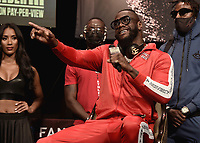 LAS VEGAS, NV - OCTOBER 6:  Deontay Wilder at the  press conference at the MGM Grand Garden Arena on October 6, 2021 for their upcoming Fox Sports PBC pay-per-view fight in Las Vegas, Nevada. The Fury vs Wilder III pay-per-view fight will be on Saturday, October 9 at T-Mobile Arena in Las Vegas. (Photo by Scott Kirkland/Fox Sports/PictureGroup)
