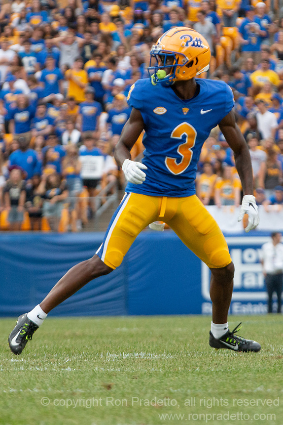 Pitt wide receiver Jordan Addison. The Pitt Panthers defeated the UMass Minutemen 51-7 on September 4, 2021 at Heinz Field, Pittsburgh, PA.