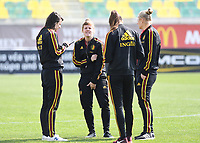20190227 - LARNACA , CYPRUS :  Belgian Laura Deloose (middle) pictured during a women's soccer game between the Belgian Red Flames and Slovakia , on Wednesday 27 February 2019 at the AEK Arena in Larnaca , Cyprus . This is the first game in group C for Belgium during the Cyprus Womens Cup 2019 , a prestigious women soccer tournament as a preparation on the Uefa Women's Euro 2021 qualification duels. PHOTO SPORTPIX.BE | DAVID CATRY