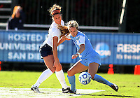 SAN DIEGO, CA - DECEMBER 02, 2012:  Summer Green (6) of the University of North Carolina keeps the ball away from Kori Chapic (14) of Penn State University during the NCAA 2012 women's college championship match, at Torero Stadium, in San Diego, CA, on Sunday, December 02 2012. Carolina won 4-1.