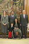 Spanish Royals, Queen Sofia of Spain, King Juan Carlos of Spain attend the Sports Merit Royal Order Great Cross award to paralympic swimmer Maria Teresa Perales at Zarzuela Palace in Madrid, Spain. April 01, 2014. (ALTERPHOTOS/Victor Blanco)