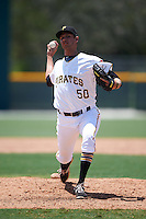GCL Pirates relief pitcher Chris McDonald (50) during a game against the GCL Yankees East on August 15, 2016 at the Pirate City in Bradenton, Florida.  GCL Pirates defeated GCL Yankees East 5-2.  (Mike Janes/Four Seam Images)