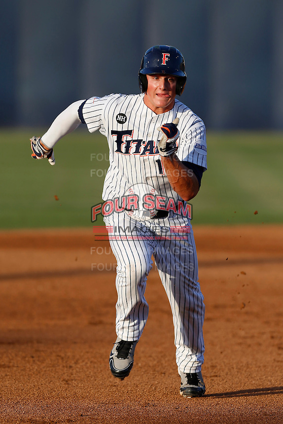 Matt Chapman #19 of the Cal State Fullerton Titans runs the bases against the UC Irvine Anteaters at Goodwin Field on May 18, 2013 in Fullerton, California. Fullerton defeated UC Irvine, 3-2. (Larry Goren/Four Seam Images)
