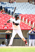 Juremi Profar (7) of the High Desert Mavericks bats against the Rancho Cucamonga Quakes at Heritage Field on May 8, 2016 in Adelanto, California. Rancho Cucamonga defeated High Desert, 11-5. (Larry Goren/Four Seam Images)