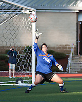 New York Fury goalkeeper Michelle Betos (1) reaches for the ball but is unable to save this goal.  The Boston Breakers beat the New York Fury 2-0 at Dilboy Stadium.
