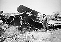Iraq 1963 .Military aircraft , an Ilyuschin 28, shot down by the peshmergas near Darband.Irak 1963.Un Ilyuschin 28, avion de combat, abattu par les peshmergas