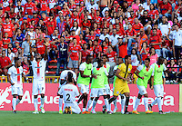 MEDELLÍN -COLOMBIA-12-JUNIO-2016.Miguel Borja  del Cortuluá celebra su gol contra el Independiente Medellín  durante partido por la semifinal semifinal-vuelta de Liga Águila I 2016 jugado en el estadio Atanasio Girardot ./ Miguel Borja of Crtulua celebrates his goal against Independiente Medellín during the match for semifinal the Aguila League I 2016 played at Atanasio Girardot  stadium in Medellin . Photo: VizzorImage / León Monsalve  / Contribuidor