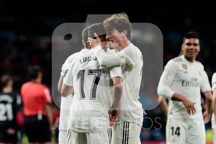 Real Madrid's Lucas Vazquez (L) and Alvaro Odriozola (R) celebrate goal during Copa Del Rey match between Real Madrid and CD Leganes at Santiago Bernabeu Stadium in Madrid, Spain. January 09, 2019. (ALTERPHOTOS/A. Perez Meca)