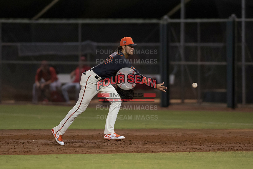 AZL Giants Black first baseman Francisco Medina (19) flips a ball to the pitcher covering first base during an Arizona League game against the AZL Angels at the San Francisco Giants Training Complex on July 1, 2018 in Scottsdale, Arizona. The AZL Giants Black defeated the AZL Angels by a score of 4-2. (Zachary Lucy/Four Seam Images)