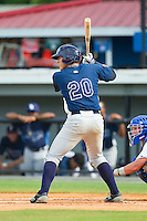 Travis Flores (20) of the Princeton Rays at bat against the Burlington Royals at Burlington Athletic Park on July 5, 2013 in Burlington, North Carolina.  The Royals defeated the Rays 5-1 in game one of a doubleheader.  (Brian Westerholt/Four Seam Images)