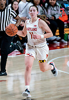 COLLEGE PARK, MD - DECEMBER 8: Taylor Mikesell #11 of Maryland moves upcourt during a game between Loyola University and University of Maryland at Xfinity Center on December 8, 2019 in College Park, Maryland.