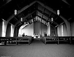 Pittsburgh PA:  View of the new North Hills Methodist Church on Thompson Run Road.  The assignment was given to Brady Stewart Studio by the church to take exterior and interior photographs of the church on Easter Sunday in order to create a brochure for the May 14th, 1967 dedication.