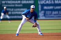 Dunedin Blue Jays third baseman Orelvis Martinez (11) during a game against the Bradenton Marauders on May 15, 2021 at BayCare Ballpark in Clearwater, Florida.  (Mike Janes/Four Seam Images)
