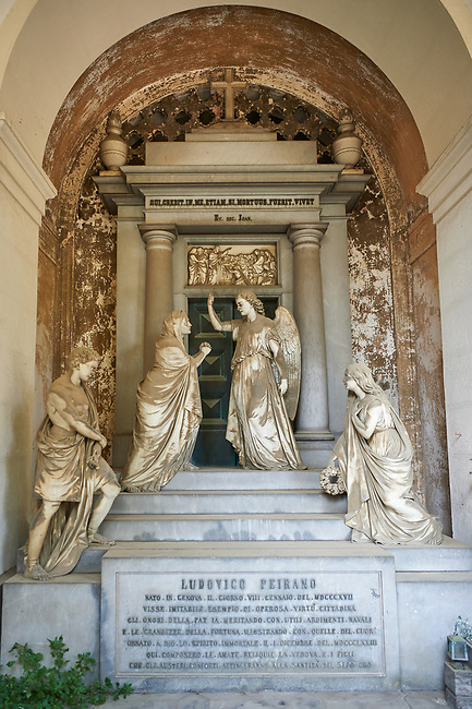 Picture and iamge of the stone sculpture of an angel with a grieving family on the steps of the Palrano tomb. Sculpted in a Borgeoise realistic style by C Rubatto in 1878. Section D no 09, the monumental tombs of the Staglieno Monumental Cemetery, Genoa, Italy
