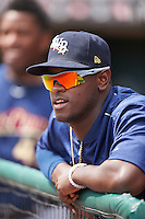 Scranton/Wilkes-Barre RailRiders pitcher Luis Severino (19) in the dugout during a game against the Buffalo Bisons on July 2, 2016 at Coca-Cola Field in Buffalo, New York.  Scranton defeated Buffalo 5-1.  (Mike Janes/Four Seam Images)
