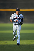 Pulaski Yankees center fielder Madison Santos (58) jogs off the field between innings of the game against the Burlington Royals at Calfee Park on September 1, 2019 in Pulaski, Virginia. The Royals defeated the Yankees 5-4 in 17 innings. (Brian Westerholt/Four Seam Images)
