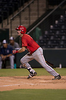 AZL Angels catcher David Clawson (7) follows through on his swing during an Arizona League game against the AZL Padres 2 at Tempe Diablo Stadium on July 18, 2018 in Tempe, Arizona. The AZL Padres 2 defeated the AZL Angels 8-1. (Zachary Lucy/Four Seam Images)